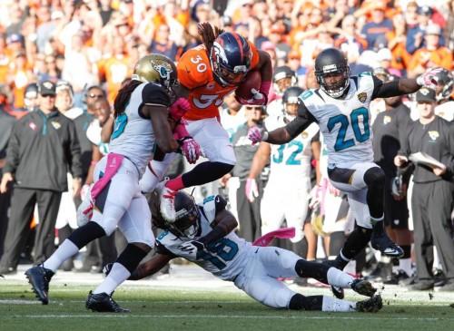David Bruton fake punt pelo Denver Broncos contra o Jaguars